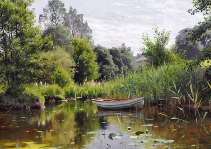 A forest lake with a rowboat, in the background a house 1903