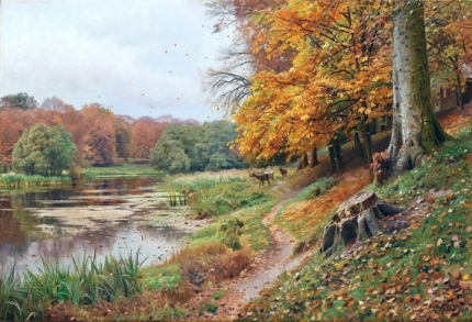 Autumn Day in the Forest, Red Deer by a Lake, 1918