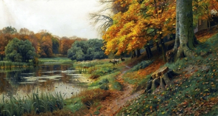 Autumnal wooded river landscape with deer, 1918