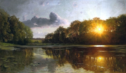 Sunset over a forest lake 1895