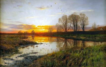 Sunset at a lake 1900