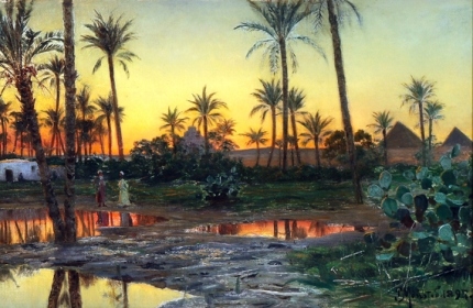 Evening landscape by Betresine with people in an oasis, In the background pyramids 1897