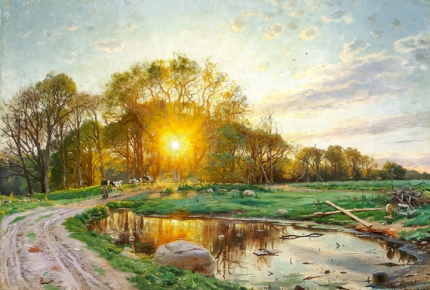 The sun sets behind the trees, summer 1897