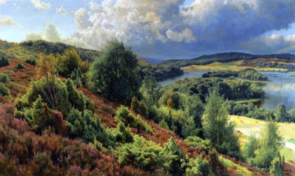 Heather-covered hills by the lakes near Silkeborgh 1907