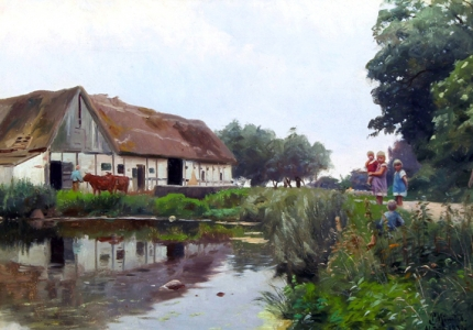 Children playing near a thatched farmhouse at Samsø 1931