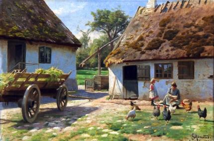 Feeding the chickens, 1924