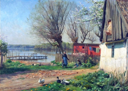 Life on a farm by a lake, spring, 1922