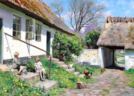 Summer day at a thatched farm with two children sitting on the stairs in the sunshine 1929