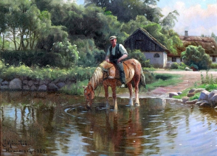 A horse is drinking from a lake, 1929