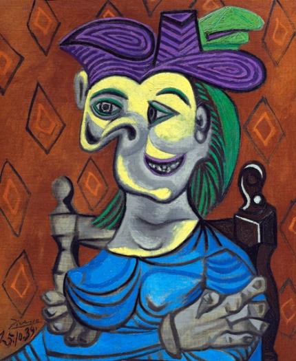 Femme Assise, Robe Bleue