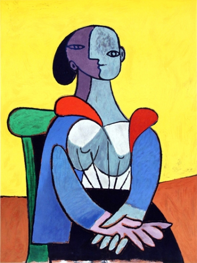 Seated Woman with Yellow Background