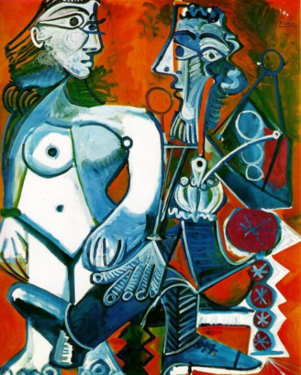 Female Nude and Man with Pipe