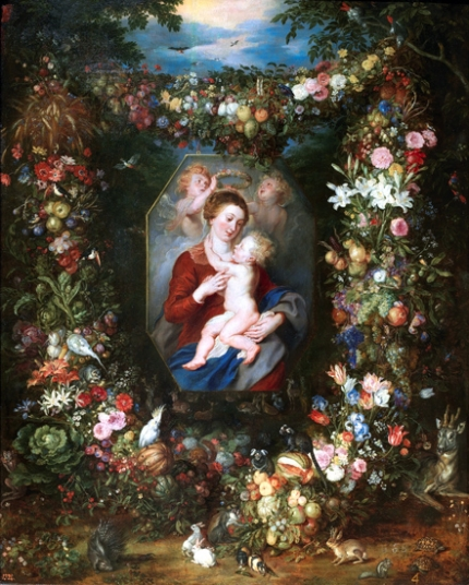 The Virgin and Child in a Box Surrounded by Flowers and Fruits