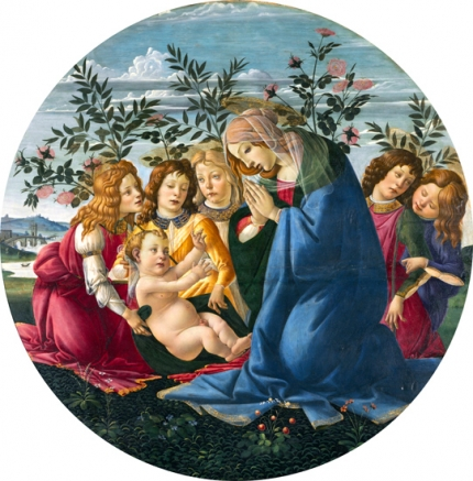 Madonna Adoring the Child with Five Angels