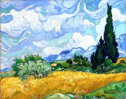 糸杉のある麦畑