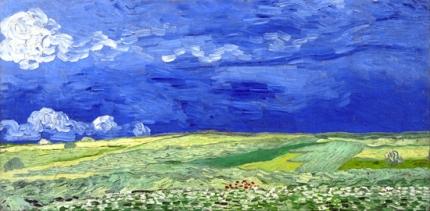 荒れ模様の空の麦畑