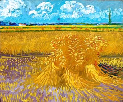 麦束のある麦畑