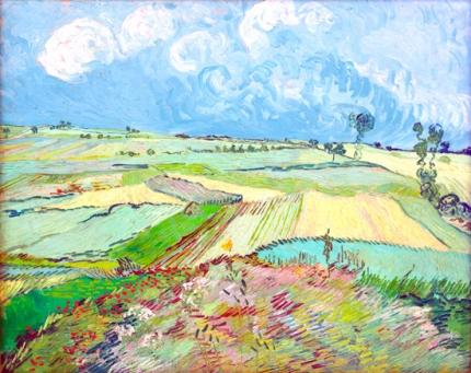 荒れ模様の空のオーヴェルの麦畑