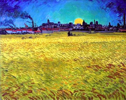 日没:アルル近くの麦畑