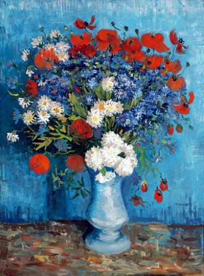 ヤグルマギクとヒナゲシのある花瓶