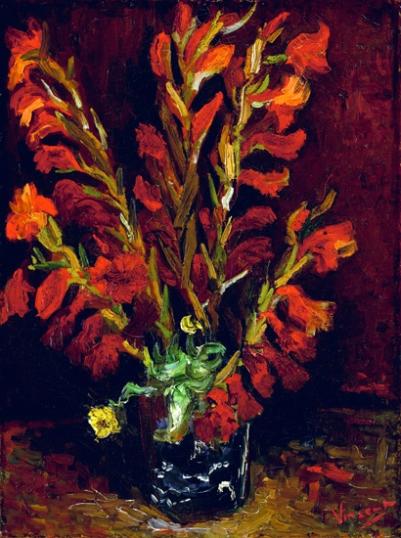 赤いグラジオラスのある花瓶