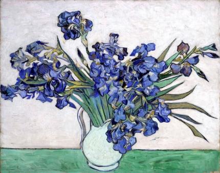 静物:アイリスのある花瓶