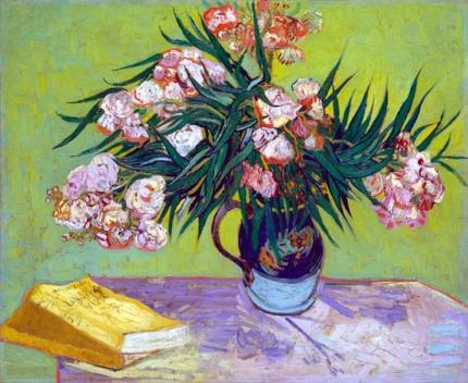 キョウチクトウのある花瓶と本
