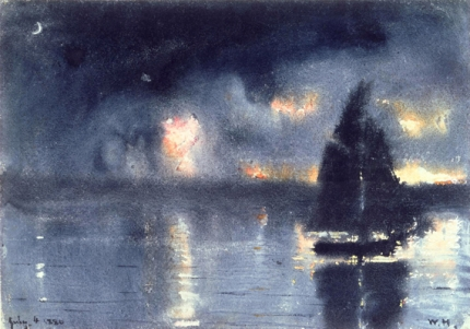 Sailboat and Fourth of July Fireworks 1880