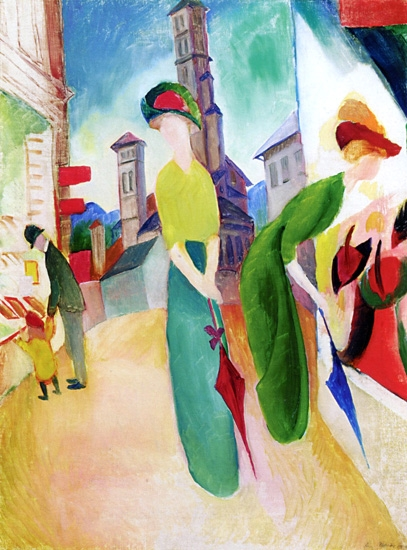 Two Women In Front Of A Hat Shop by August Macke