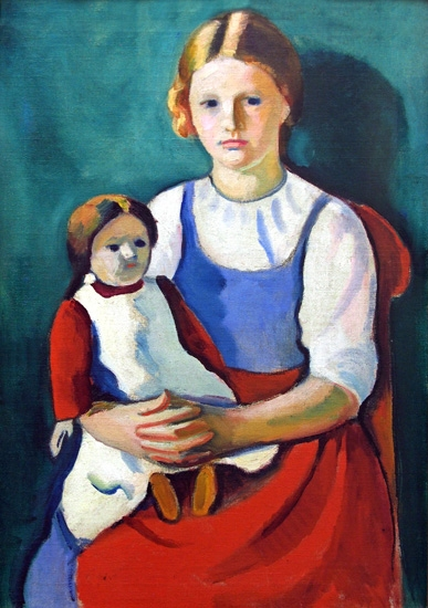 Blond Girl With Doll by August Macke