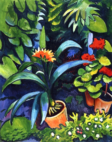 Clivia And Geranium by August Macke