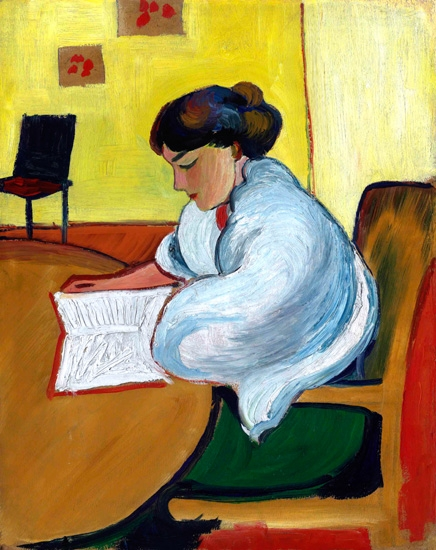Lesende Frau by August Macke