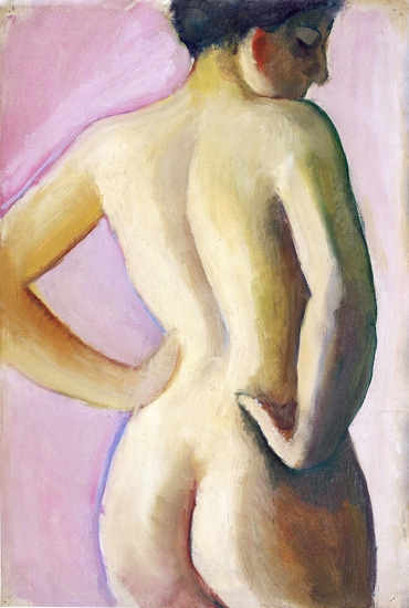 Female Nude From Backwards On A Pink Background by August Macke