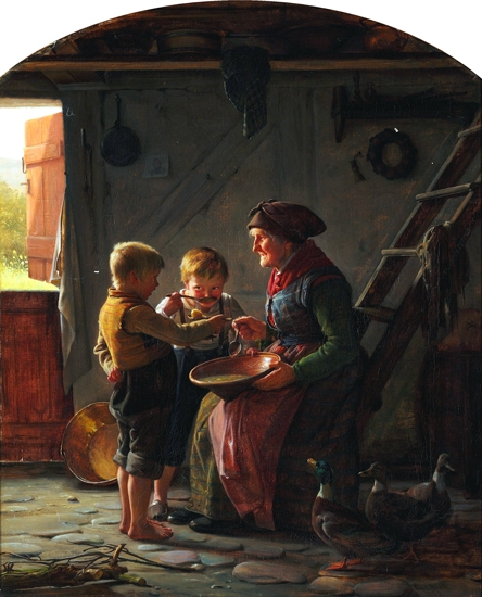 A Meal Two Boys And A Grandmother Tasting The Potato Soup by Carl Heinrich Bloch