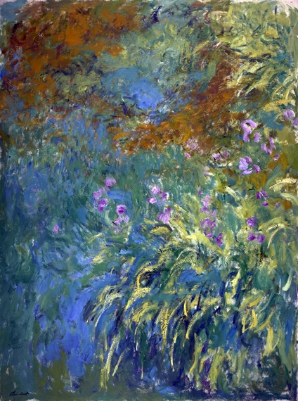 Irises By the Pond by Claude Monet