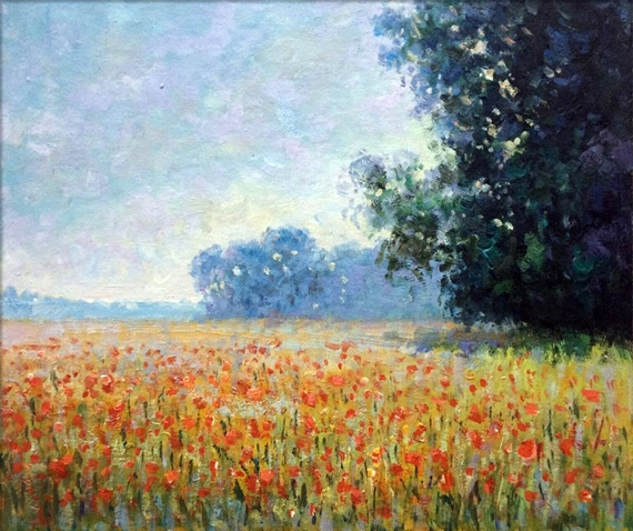 Oat and Poppy Field, 1890 by クロード·モネ