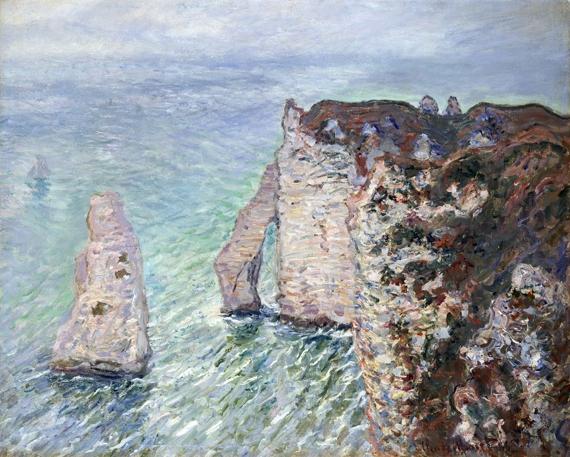 L'aiguille and the Porte D'eval, Etretat by Claude Monet