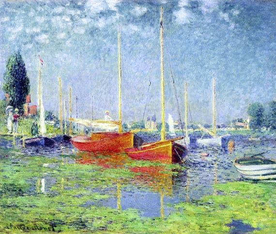 Red Boats - Argenteuil 1875 by Claude Monet