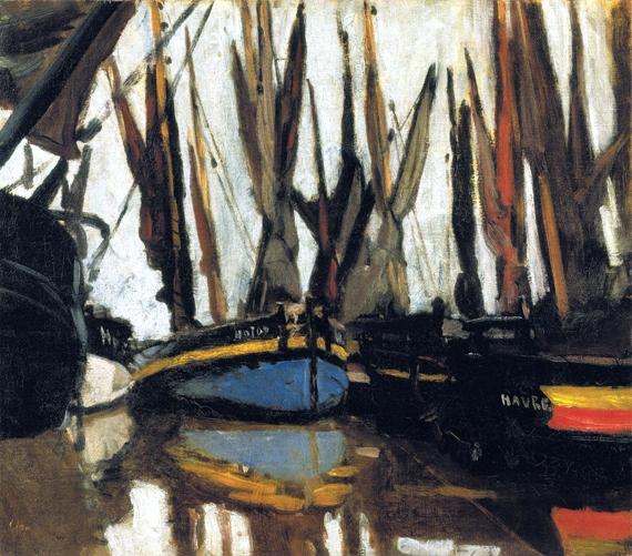 Fishing Boats (Study), 1866 by クロード·モネ