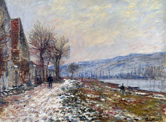 La Berge à Lavacourt, Neige by Claude Monet