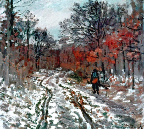 Path Through the Forest, Snow Effect by Claude Monet