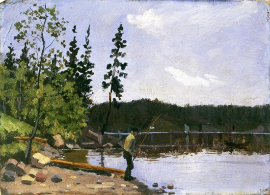 Fisherman By The Water by Edvard Munch