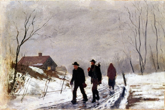 People On The Road In Wet Snow by Edvard Munch
