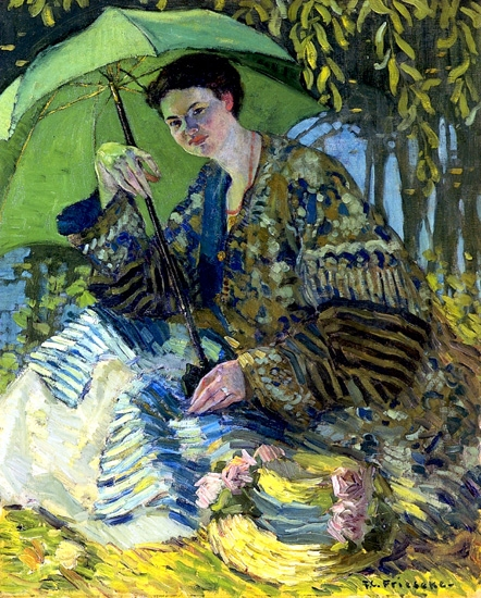 Lady With A Parasol by Frederick Carl Frieseke