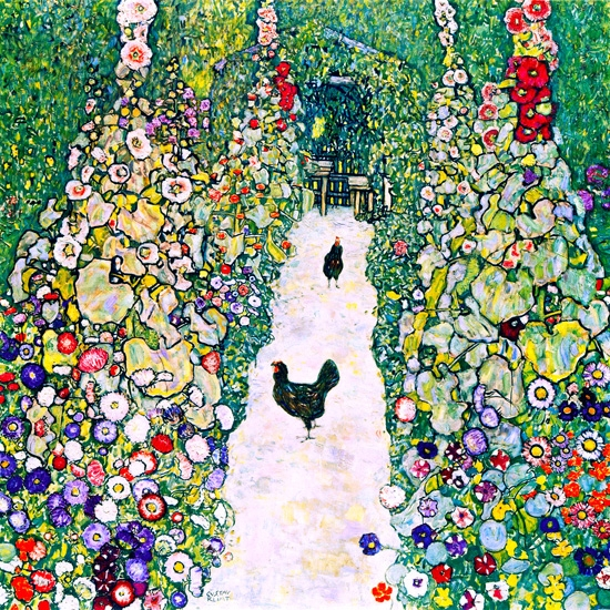 Garden With Roosters by Gustav Klimt