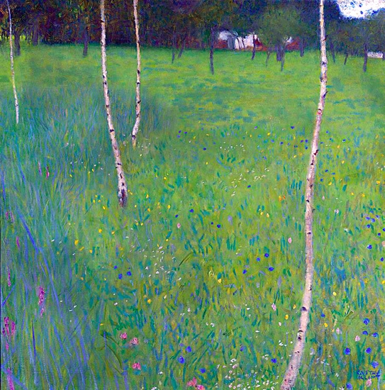 Farmhouse With Birch Trees Young Birch Trees by Gustav Klimt