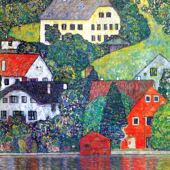 Houses at Unterach On the Attersee by グスタフ·クリムト