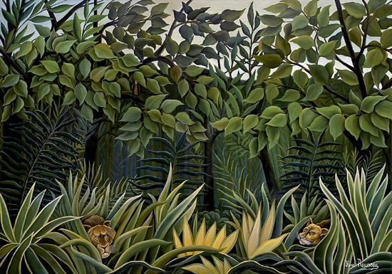 Two lions on the lookout in the jungle by Henri Rousseau