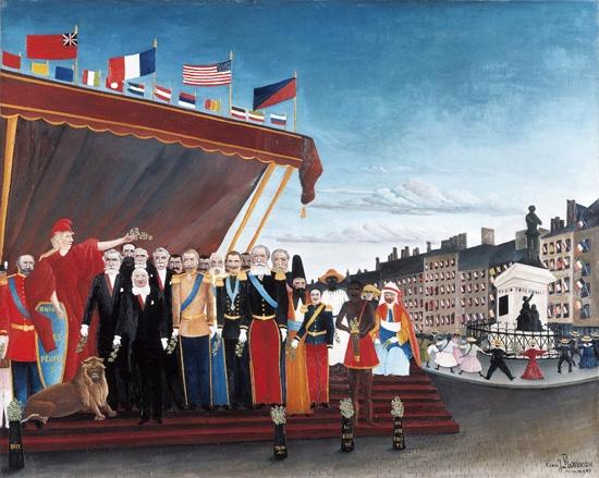 平和のしるしに共和国へ敬意を表して訪れた列国の代表者たち by アンリ・ルソー