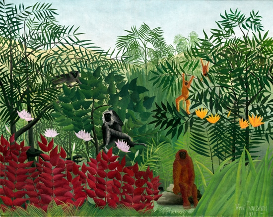 Tropical Forest with Apes and Snake by Henri Rousseau